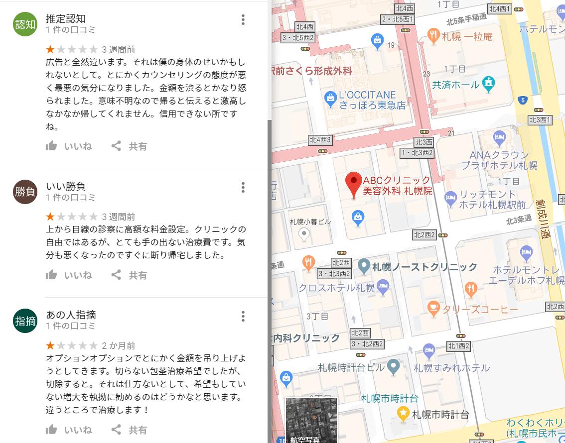 ABCクリニック 評判(札幌院の悪評)